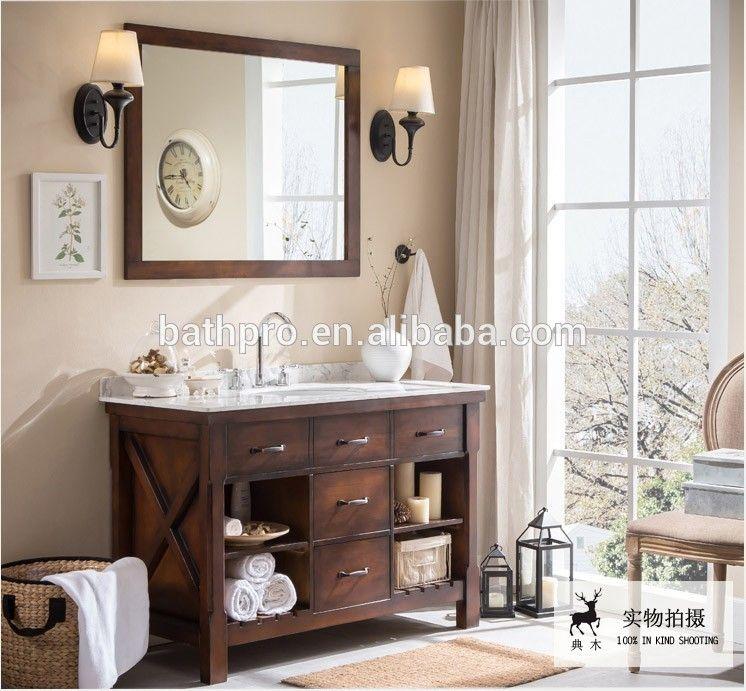 Foshan Factory Euro Antique Solid Wood Bathroom Vanity Bathroom