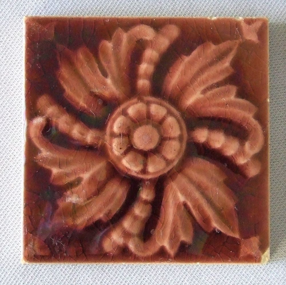 Old Bridge Tile Victorian Antique Ceramic Flower Eastlake Aesthetic #OldBridge