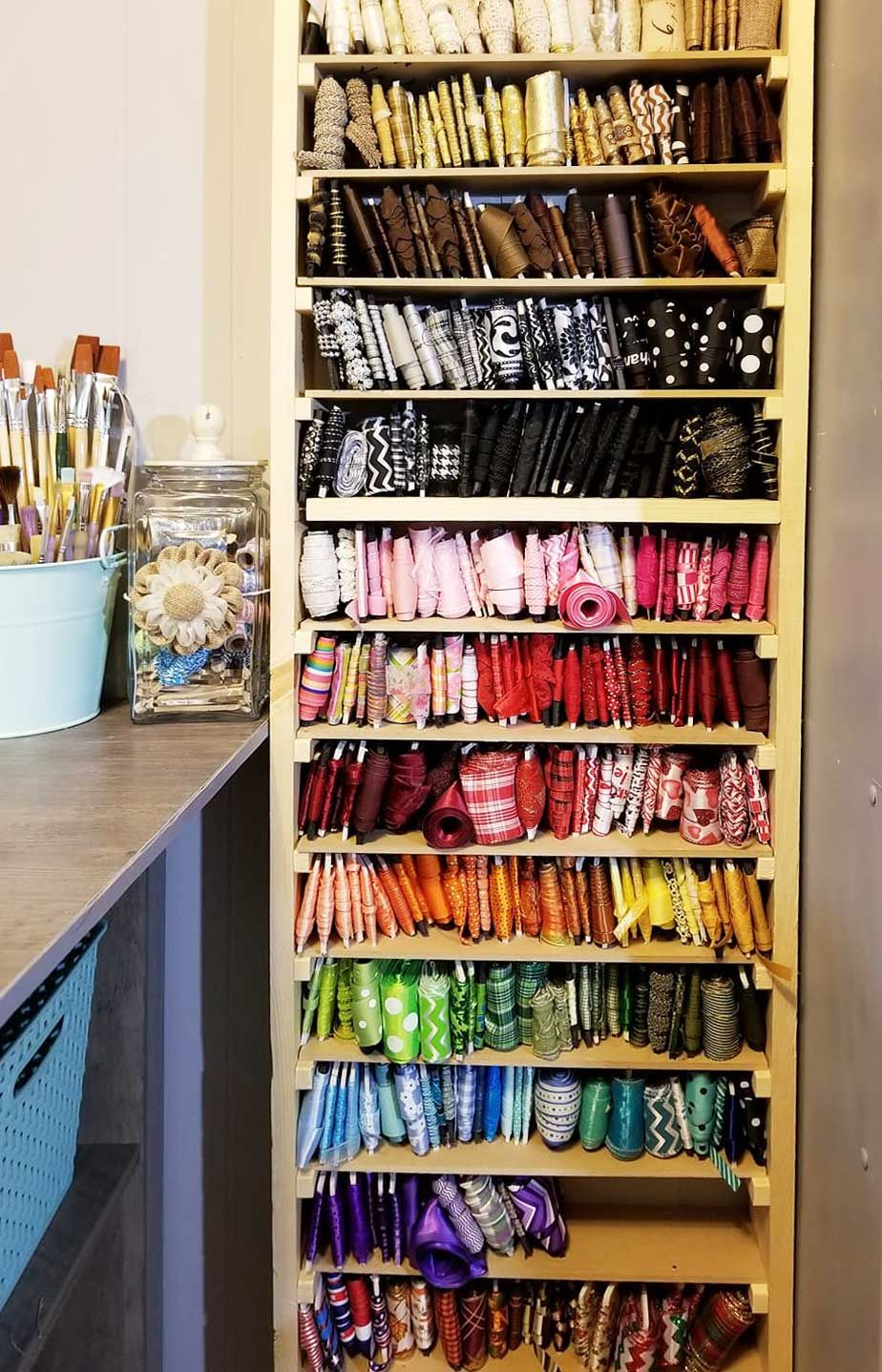 Diy Ribbon Storage Organizers Racks Shelves Ribbon Storage