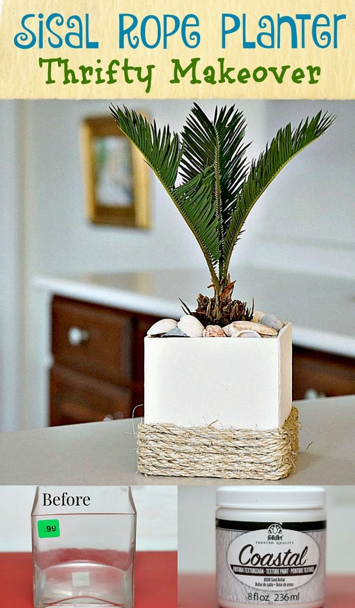 The Sisal Rope Planter is an easy diy project that brings back memories of Florida for me. The planter started out as a glass vase from the local thrift store. The paint is FolkArt Coastal Texture in Sand Dollar and sisal rope is the finishing touch.