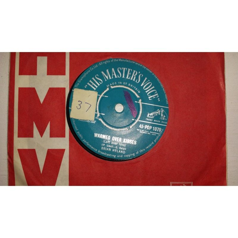 """7"""" 45RPM Warmed Over Kisses (Left Over Love)/Walk A Lonely Mile by Brian Hyland from His Masters Voice"""