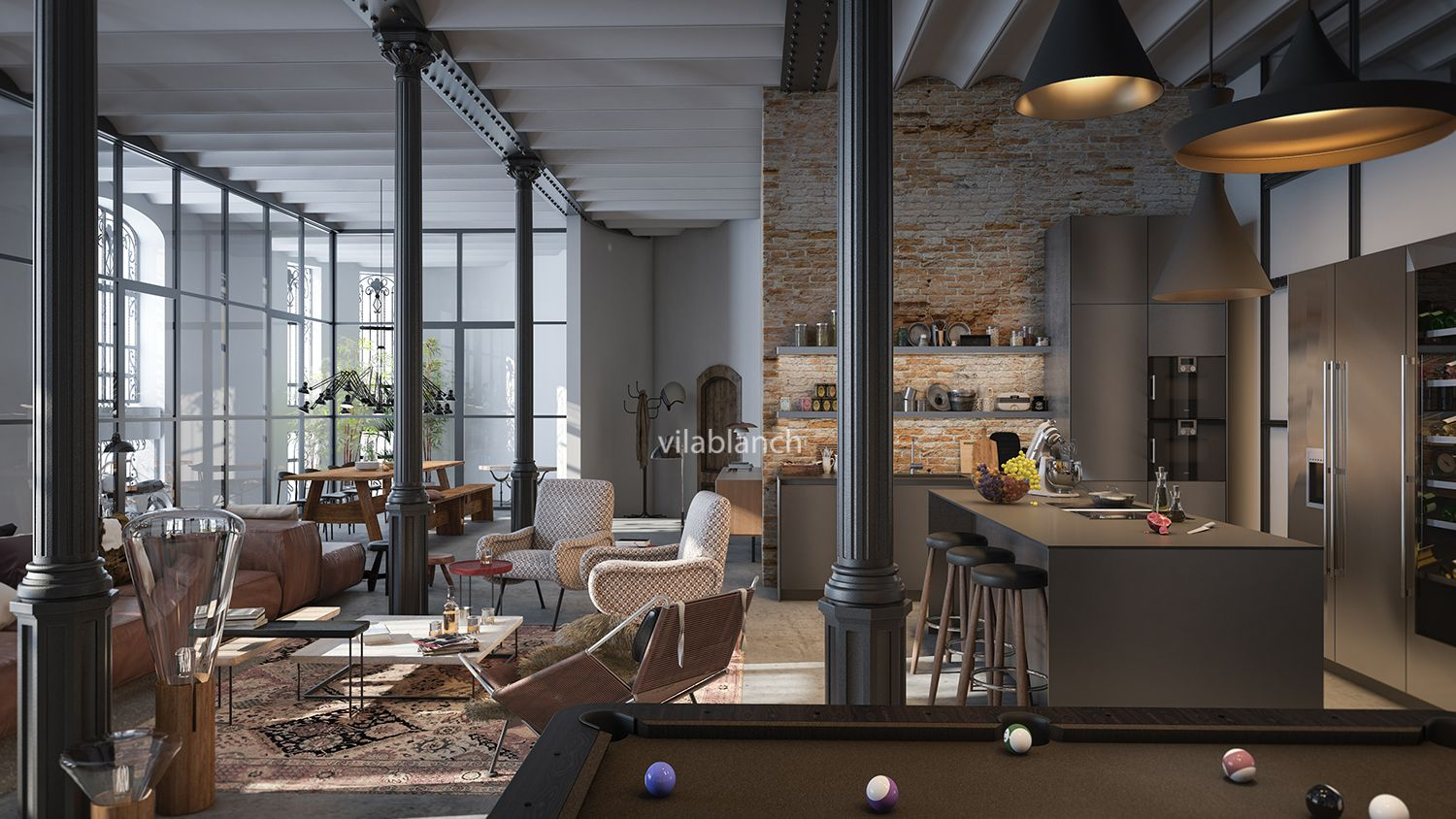 Interior architecture project for casa bur s loft for Estudios de interiorismo barcelona
