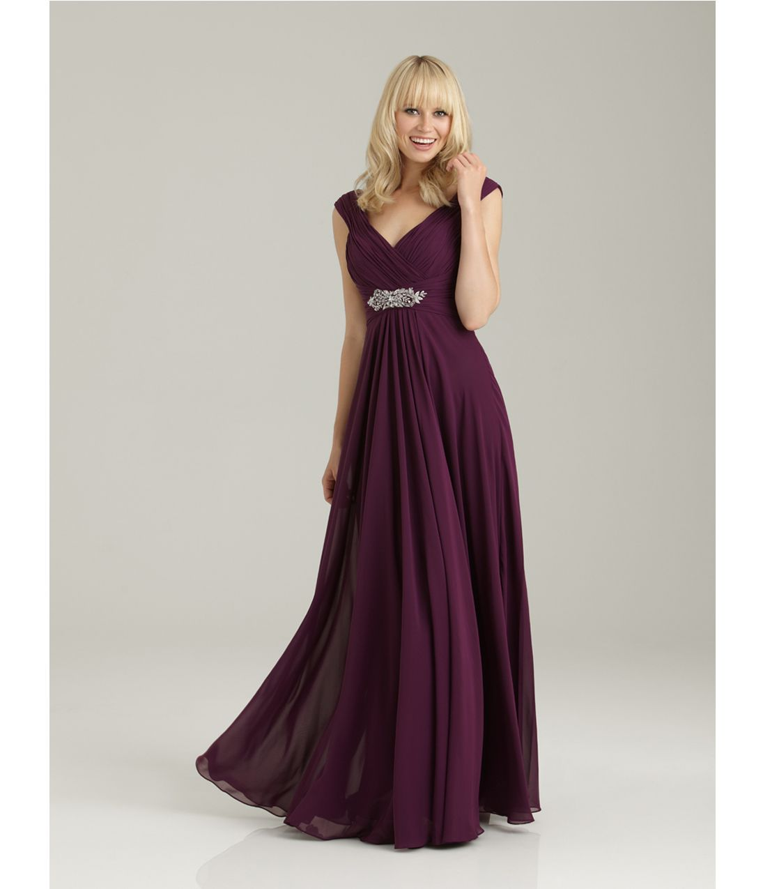 allure bridesmaid burgundy chiffon off the shoulder long