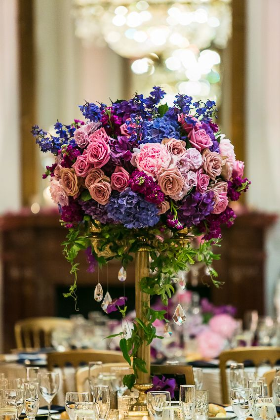 Blue pink purple reception wedding flowers decor