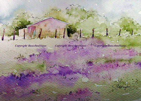 Lavender Field Watercolor Painting Print Landscape French Provence Farm Acuarela Fácil Pintura Acuarela Acuarela