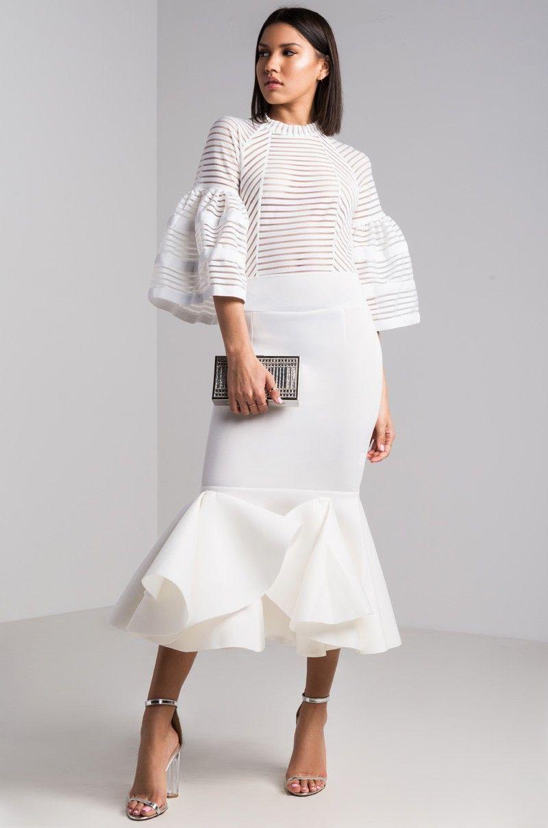358ba7a13530 Front View Linear Appeal Scuba Midi Dress in White | FCrystalFashion ...