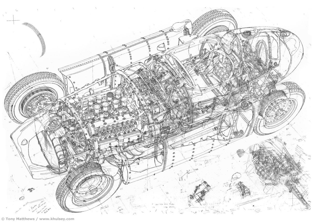 Automotive Illustration Of A Lancia D50 Grand Prix Car By Tony Matthews