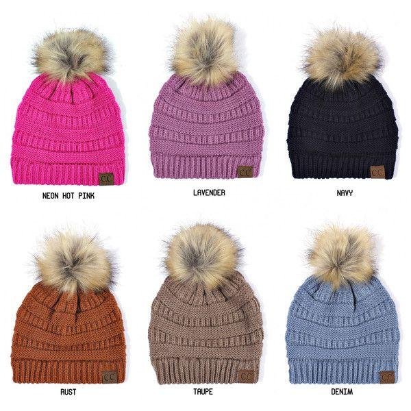 Faux Fur Pom Pom Beanie Hat from Colorado Chick ($70) ❤ liked on ...