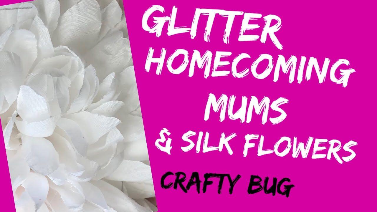 How to GLITTER HOMECOMING mums; glitter silk flowers; diy homecoming mum