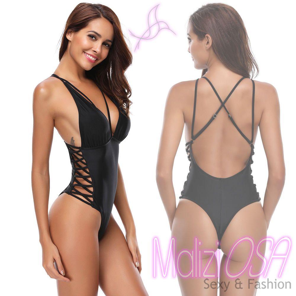 8bbc279a8e8c Costume Intero da Bagno Donna Monokini Nero Moda Mare Piscina Taglio  Brasiliana