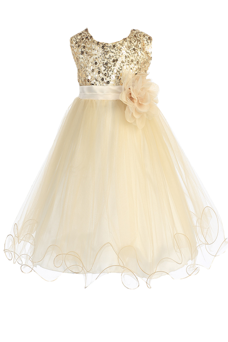 a6bfe862 Gold Sequins, Satin & 2 Layer Mesh Overlay Dress with Double Ruffle Hem  (Baby Girls Sizes)