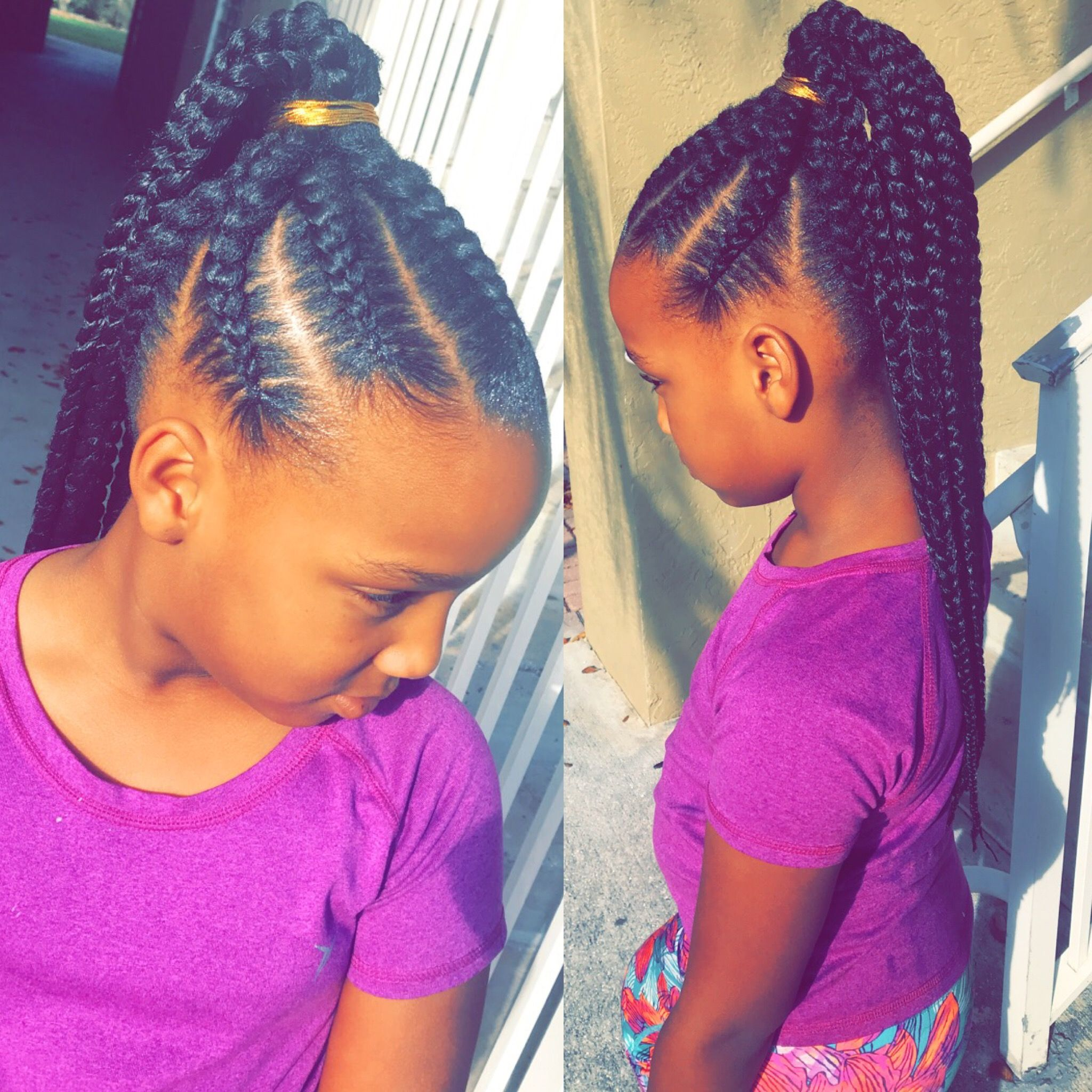 Feed In Braids Into A Ponytail Done By Me Feed In Braids Ponytail Feed In Braids Hairstyles Lil Girl Hairstyles