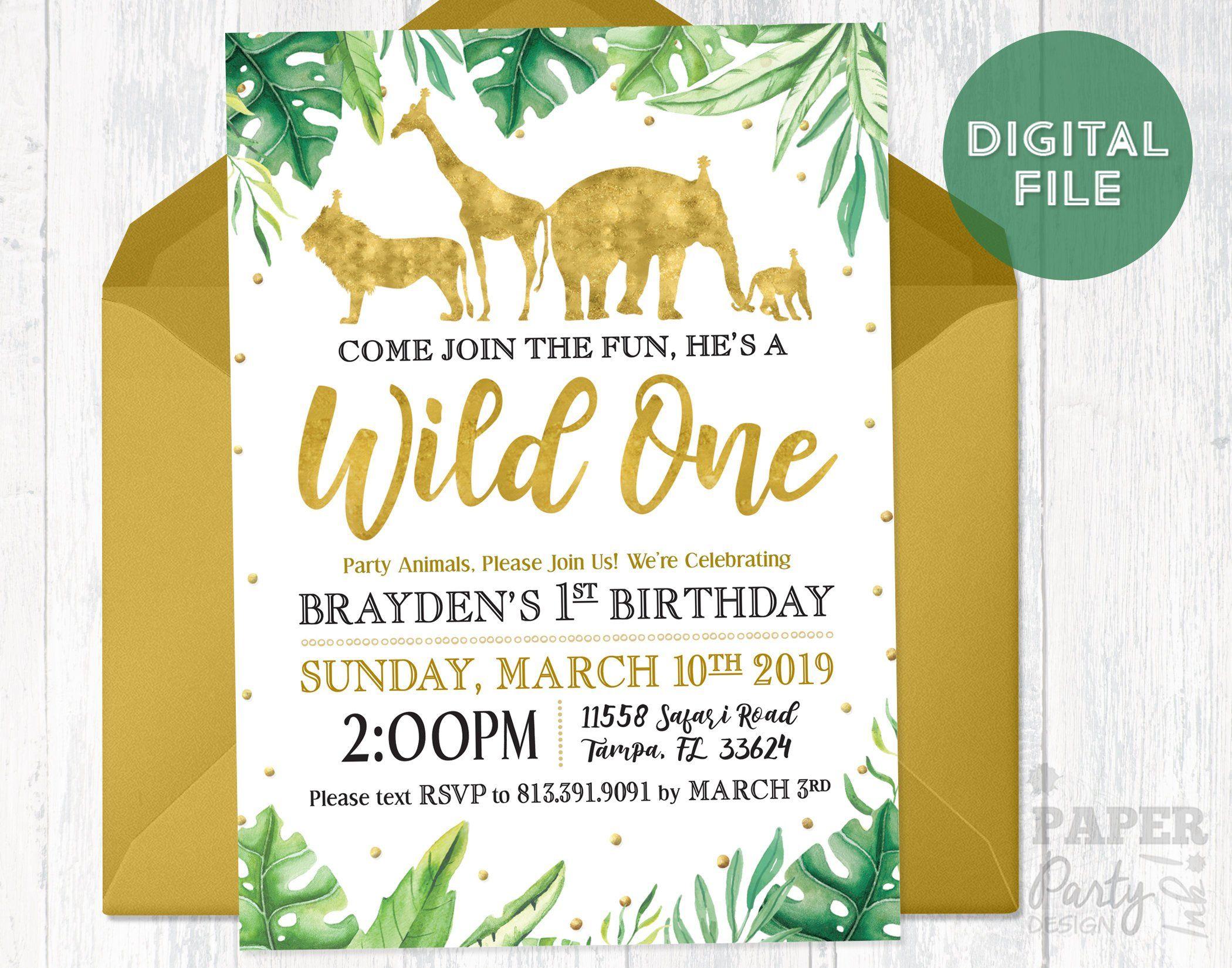 First Birthday Wild One Invitation Birthday Invitation Wild One Digital Invitation Jungle Invitation