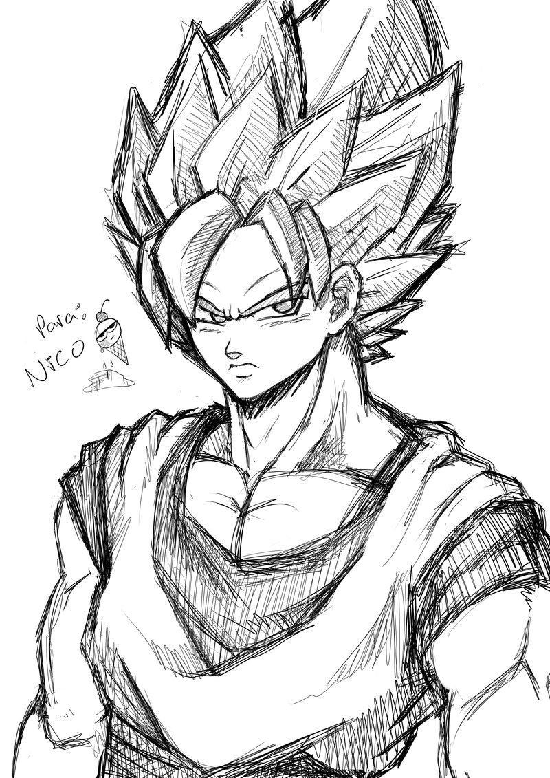 Goku sketch by karulox on deviantart
