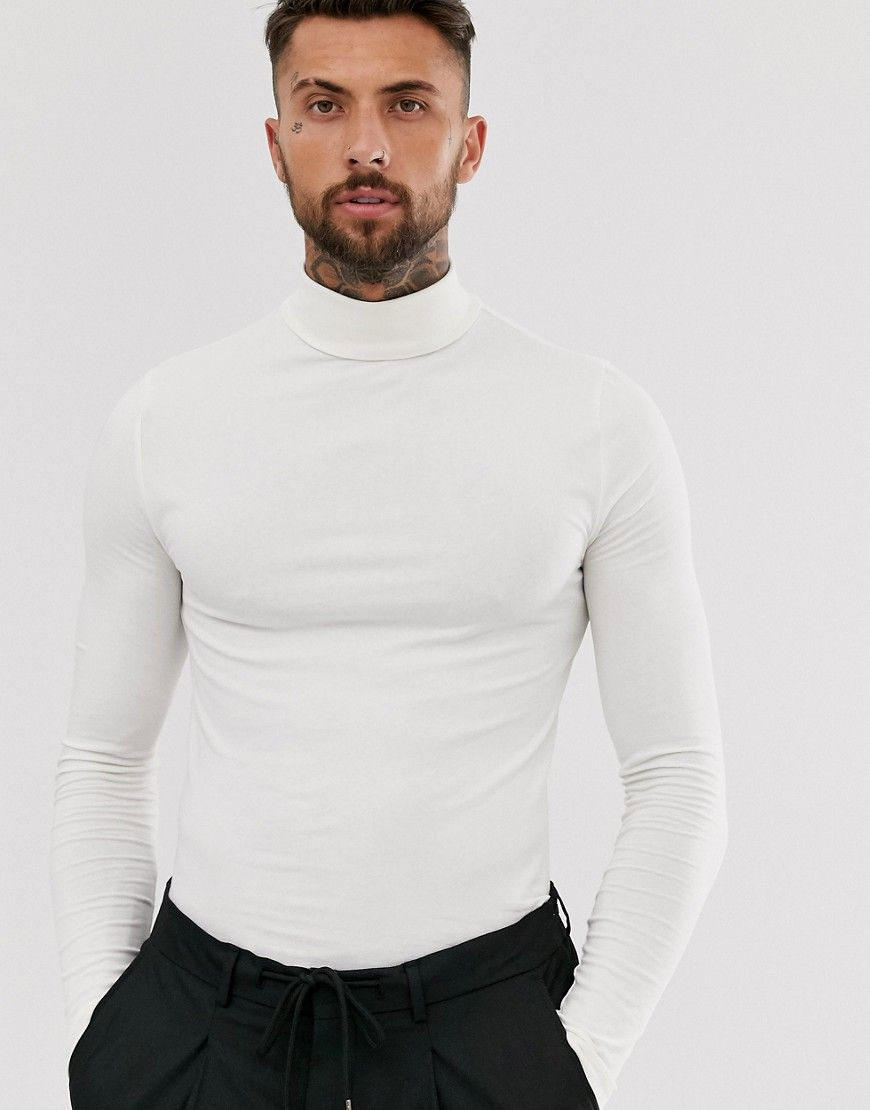 Asos design organic muscle fit long sleeve roll neck t