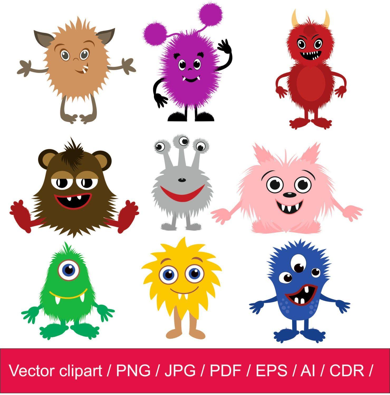 Little Monsters Clipart Monsters Clip Art Monsters Vector Etsy In 2021 Monster Clipart Vector Cute Monsters