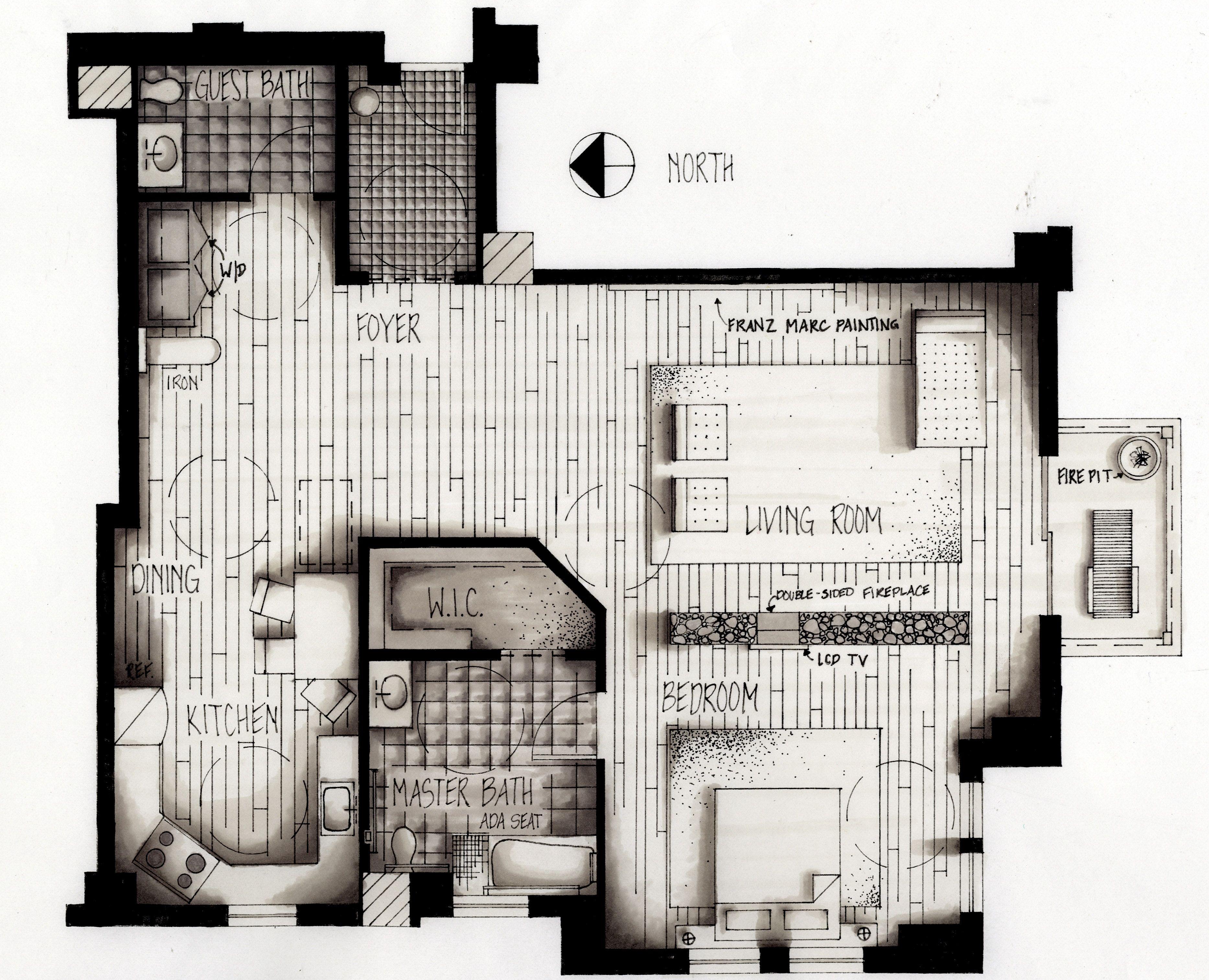 Image result for hand rendered floor plans hand drafting for Rendered floor plan