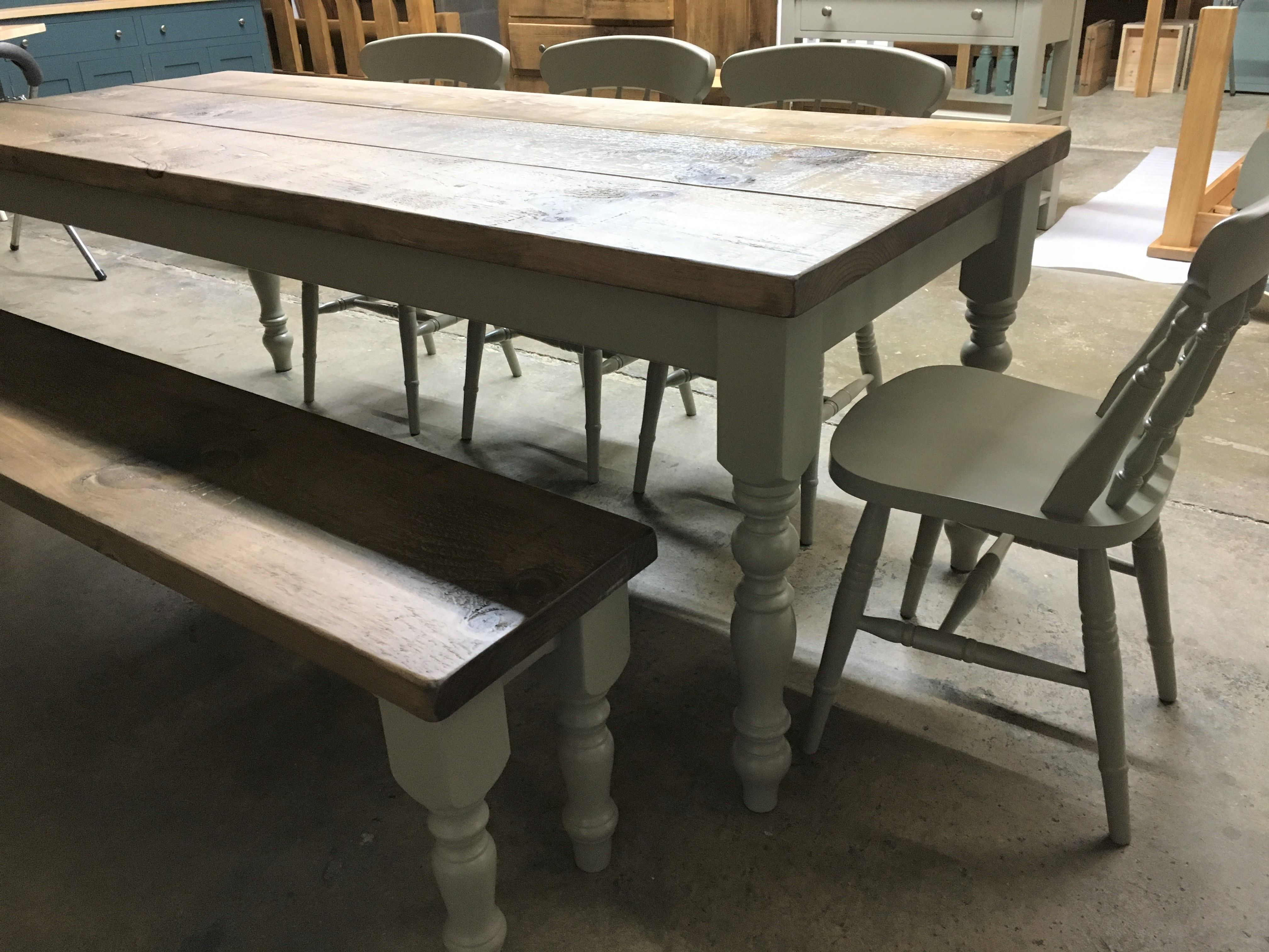 Farmhouse table and bench with Spindle back chairs all