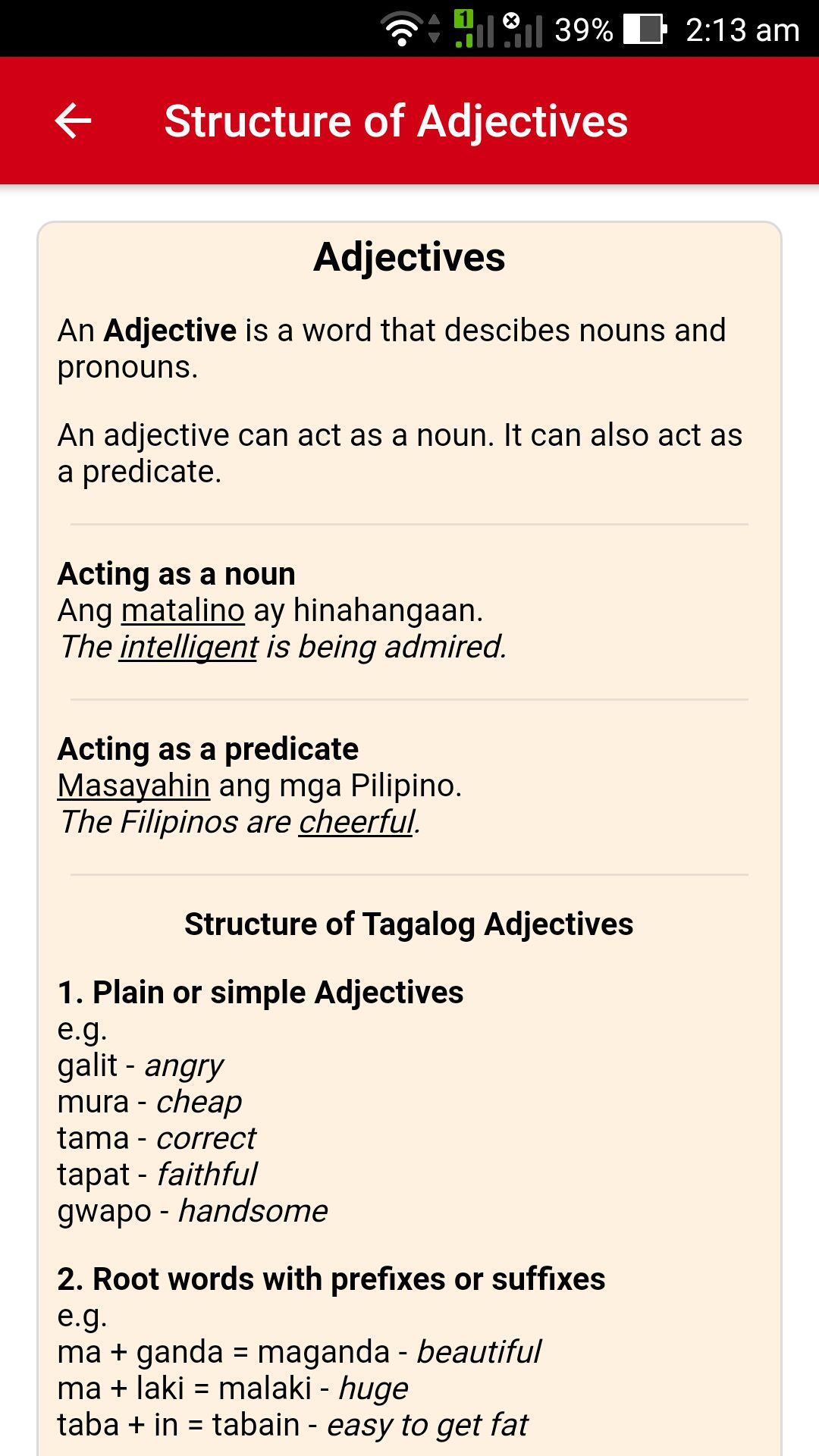Learn How To Construct Basic And Advanced Sentences By Familiarizing In Tagalog Affixes Verbs Adjectives And Tagalog Words Learn English Words Filipino Words
