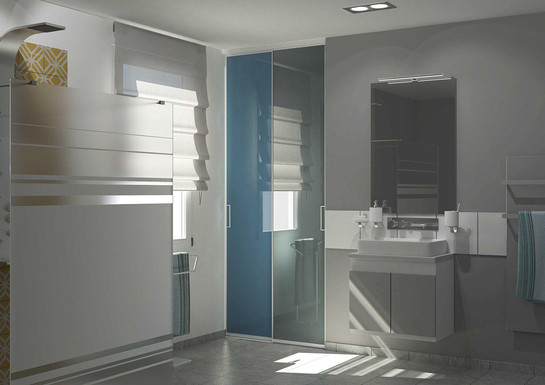 Des Portes De Placard Coulissantes Pour Votre Salle De Bain - Porte placard coulissante avec portes interieures vitrees modernes