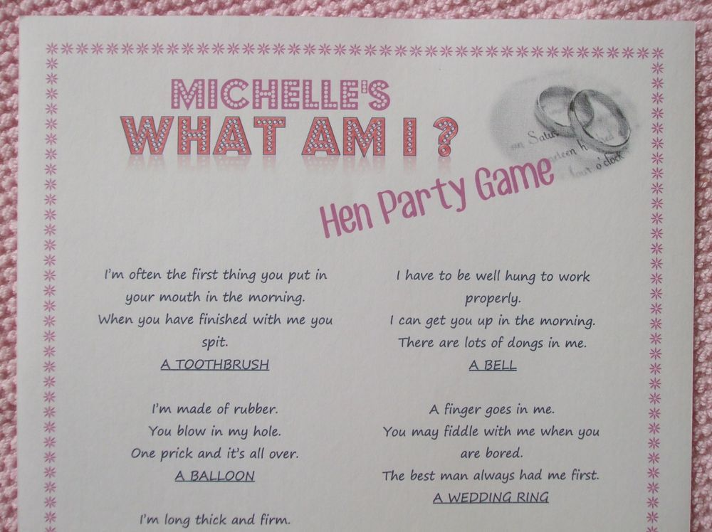 what am i hen night party game 56 x fun innuendo questions adult quiz game hen party game. Black Bedroom Furniture Sets. Home Design Ideas