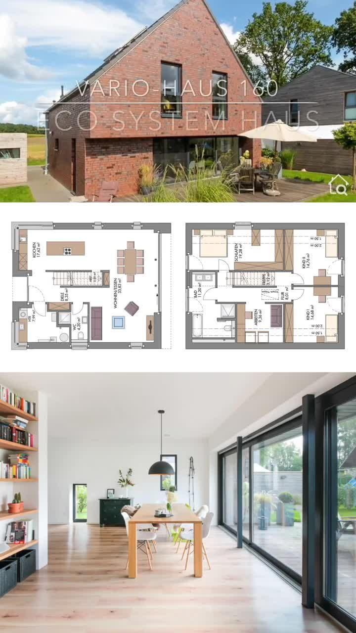 Modernes Einfamilienhaus mit Klinker Fassade & Satteldach massiv bauen Haus Grundriss gerade Treppe