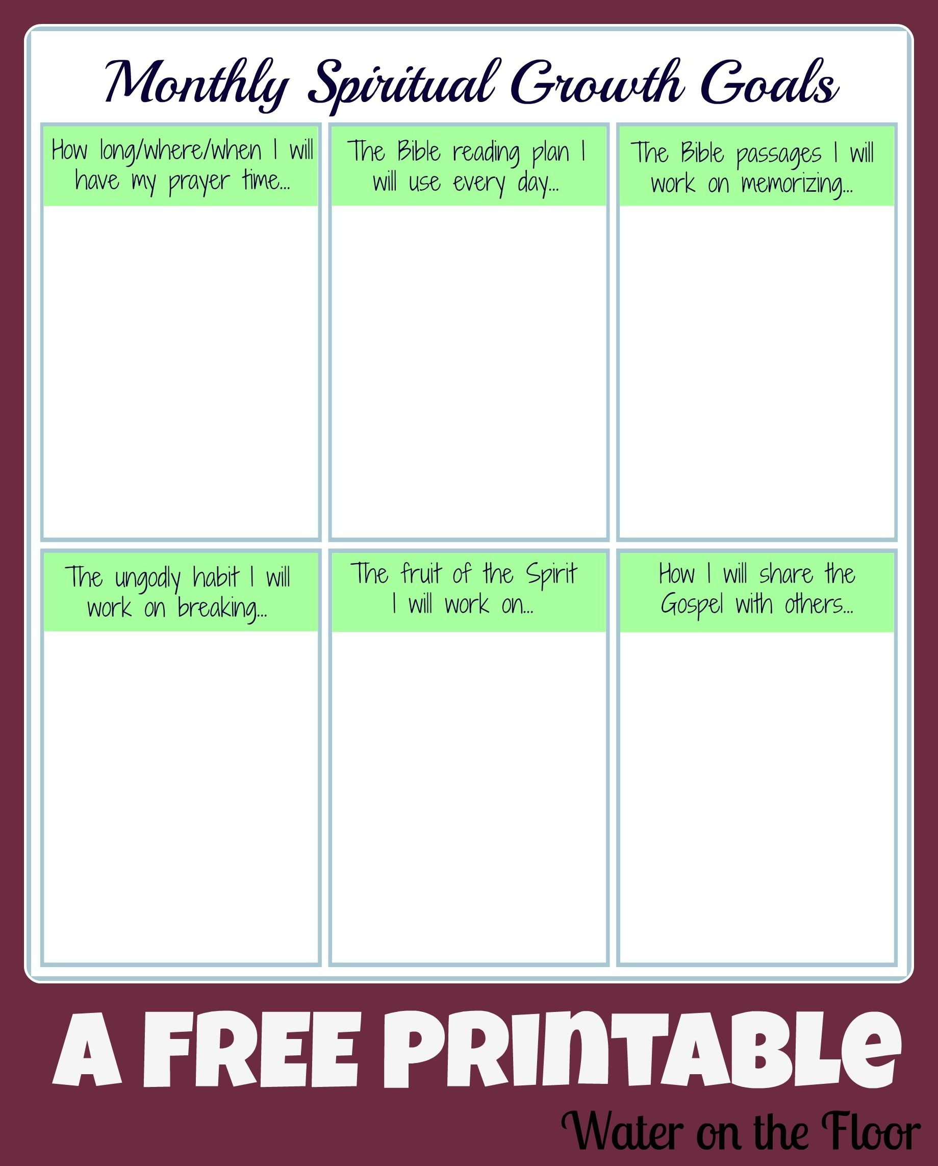 Monthly Spiritual Growth Goals (FREE Printable) | Spiritual growth ...