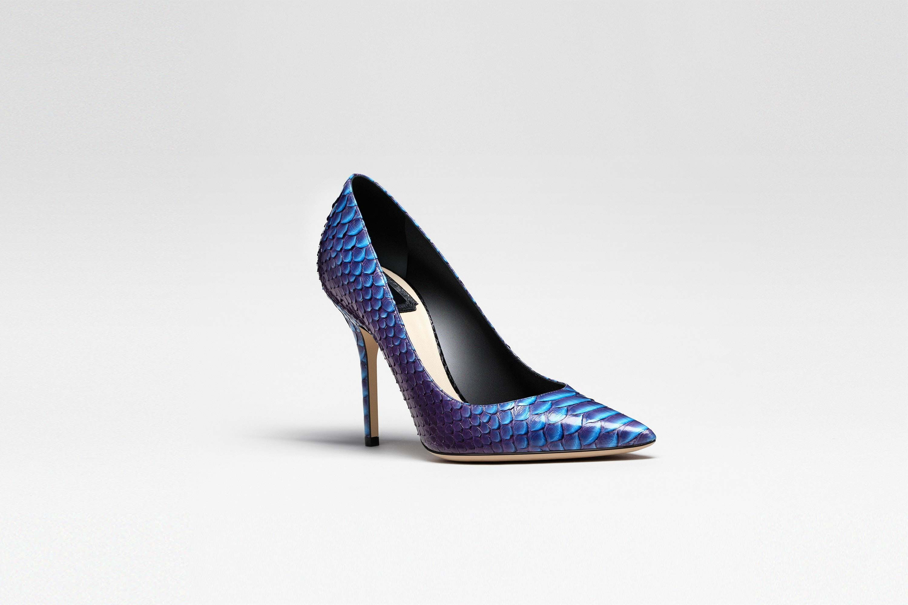 Purple and black python pointed-toe pump, 10 cm - Shoes Dior