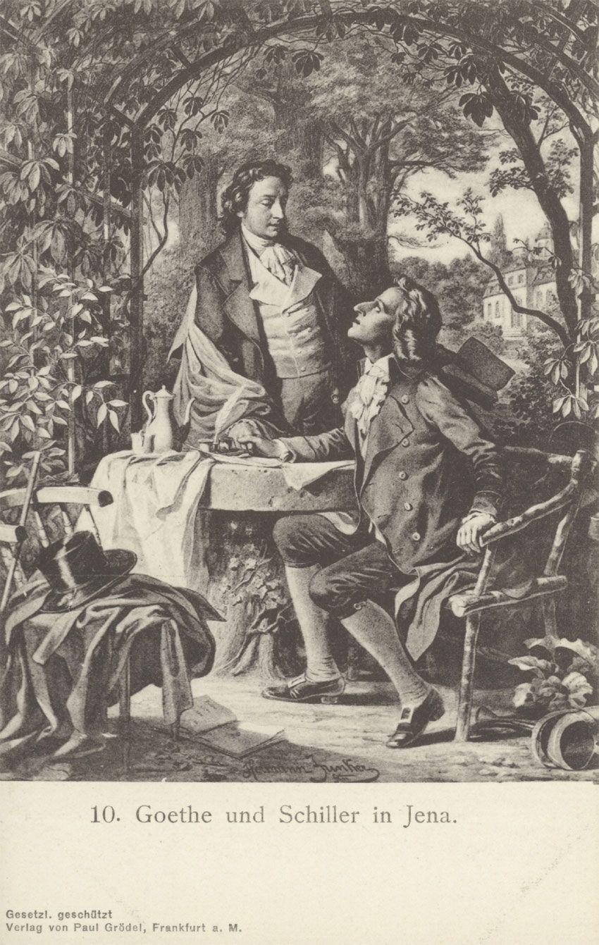 Johann Wolfgang von Goethe und Friedrich Schiller verband zu ihren Lebzeiten eine tiefe Freundschaft. Bei einem Besuch von Goethe, wurde ihm langweilig. So schaute sich dieser um und entdeckte auf Schillers Schreibtisch ein unvollendetes Gedicht.     «Er sass auf Ihres Bettes Rand   und spielte mit den Flechten.»   Rasch vervollständigte er diese Zeilen mit zwei weiteren, die lauten:     «Dies tat er mit der linken Hand –   Was tat er mit der Rechten?»