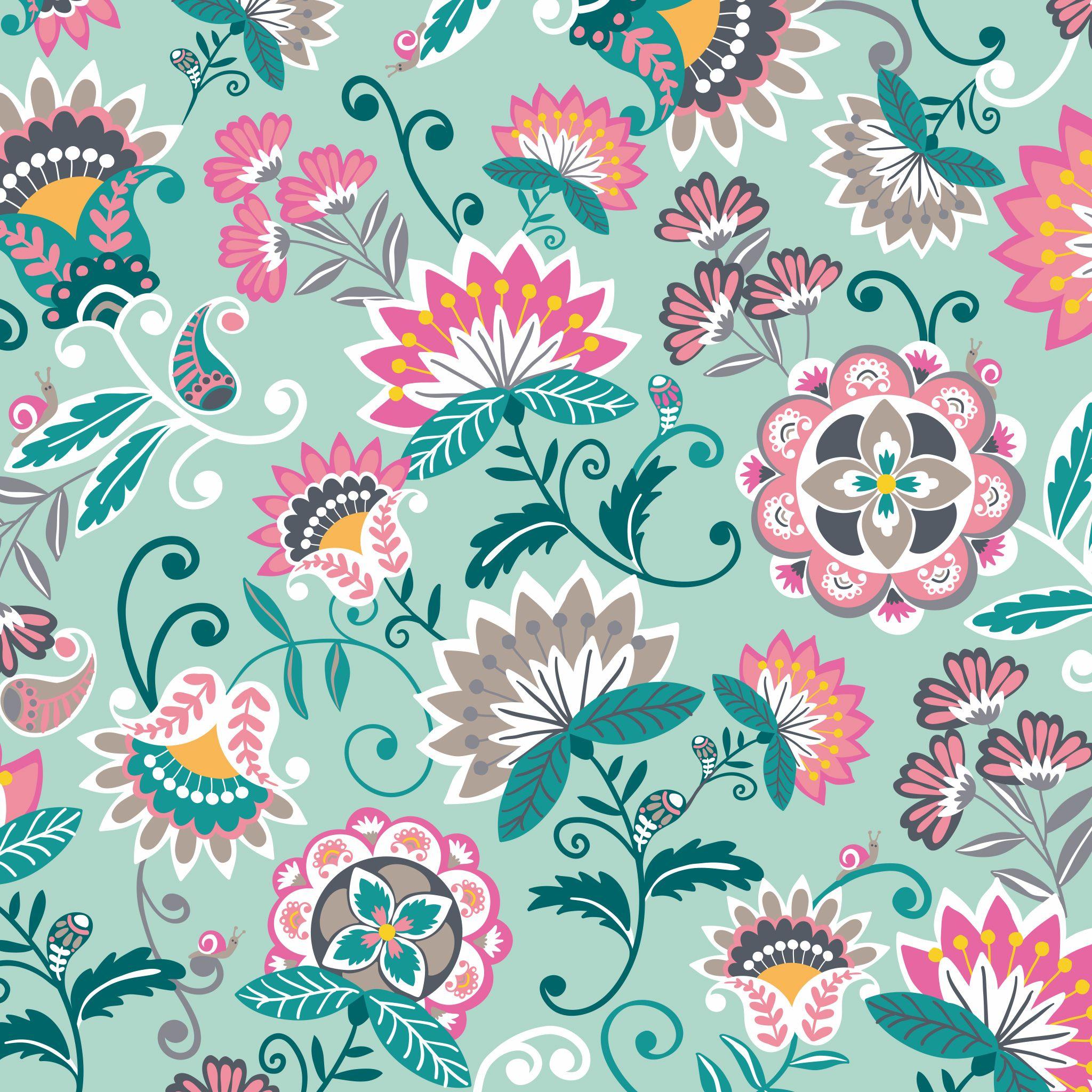 Tablet Wallpaper In Mint Flowers Iphone Wallpaper Vera Bradley