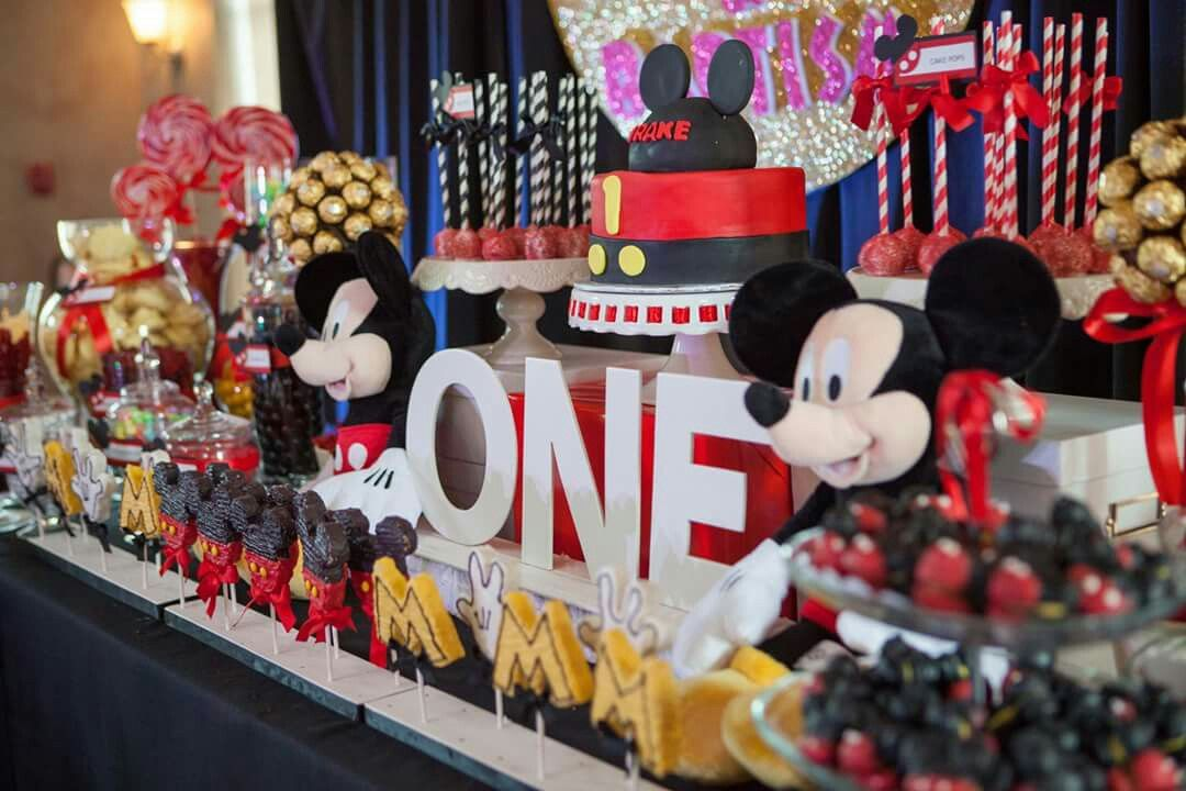 Mickey Mouse Theme On Drake S 1st Birthday And His Candy Buffet Candy Buffet Mickey Mouse Theme Buffet