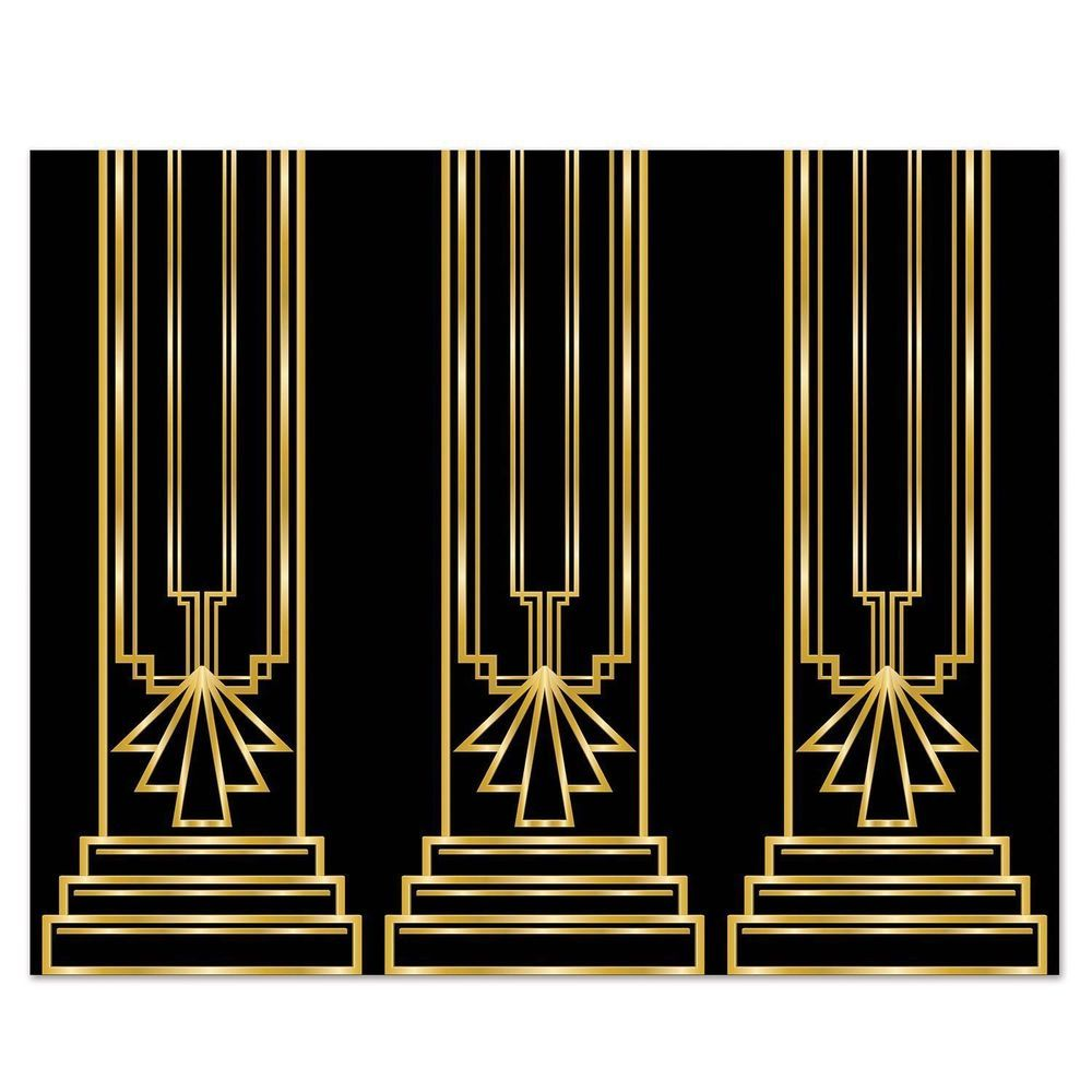Art deco great gatsby 20s column backdrop party decoration for Decoration art deco