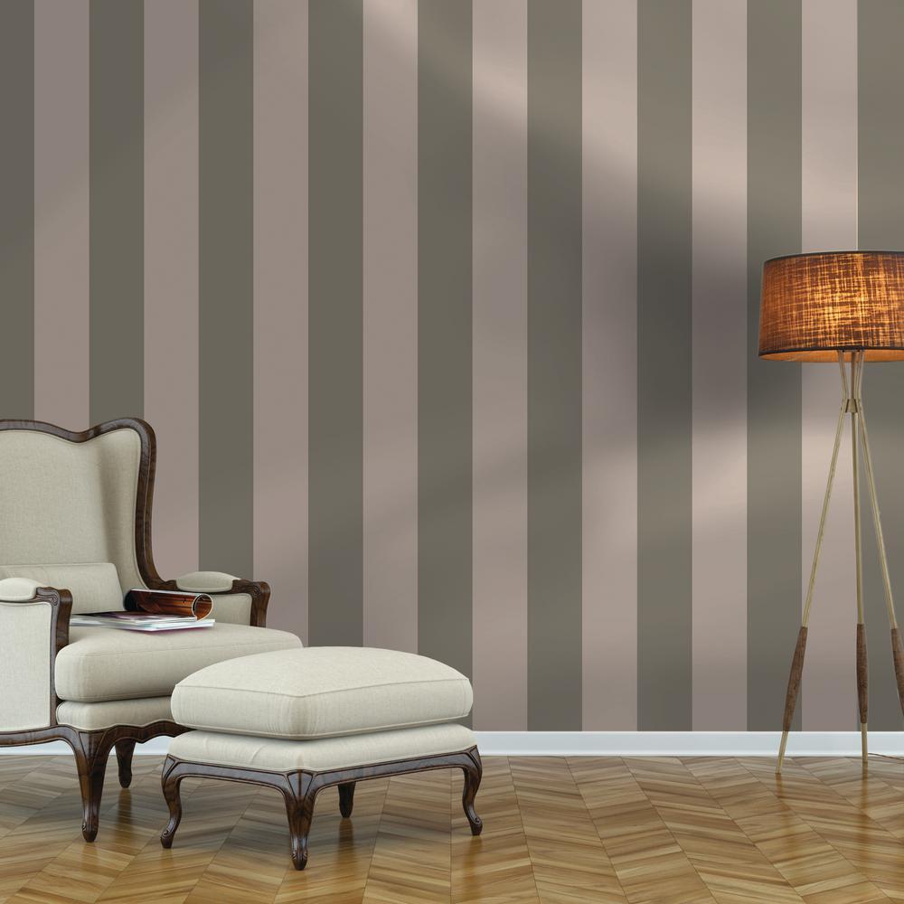 Repeel Stripe Grey Peel and Stick Wallpaper 28 sq. ft