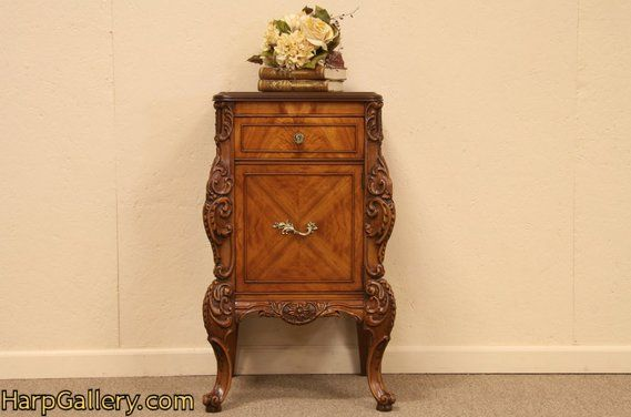 French Carved Nightstand, Bedside, or End Table - Harp Gallery Antique  Furniture - French Carved Nightstand, Bedside, Or End Table - Harp Gallery