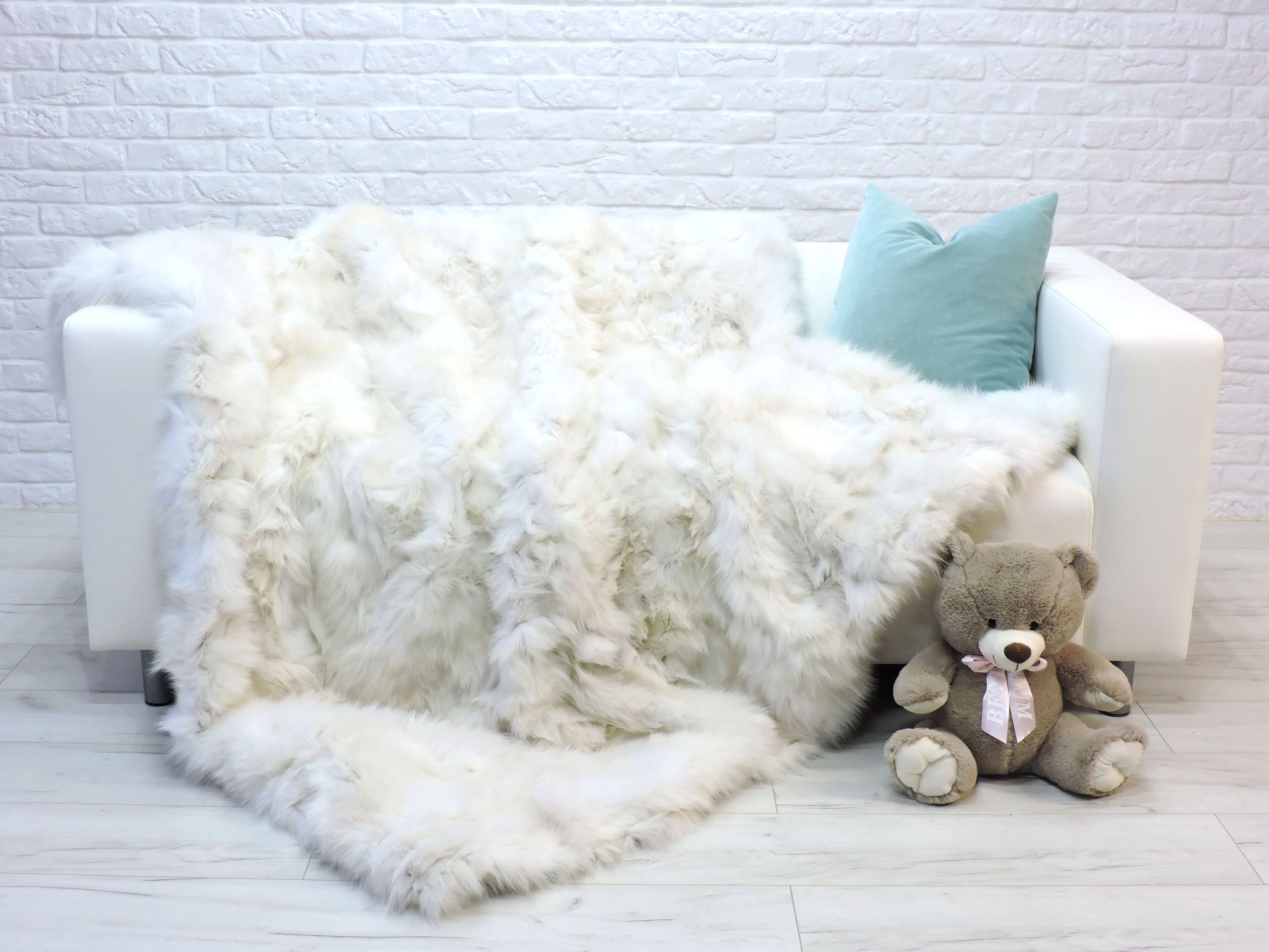 Luxury Real White Fox Fur Blanket Fur Throw Natural Italian Fox Fur Sofa Bed Cover Bedspread 78 X 65 268