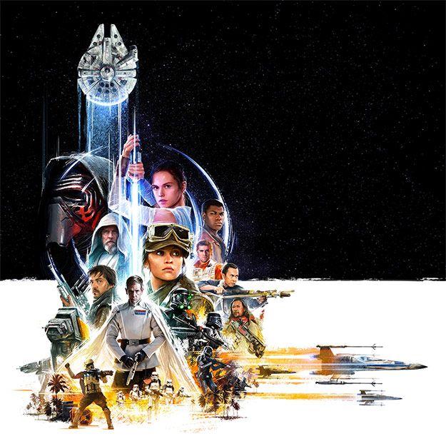 Promo dibujo del universo Star Wars con Rogue One y los nuevos héroes de la trilogía VII, VIII y IX