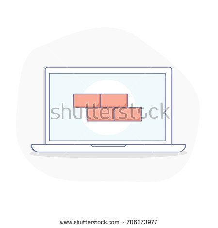 Laptop with firewall on the screen, concept of security, personal