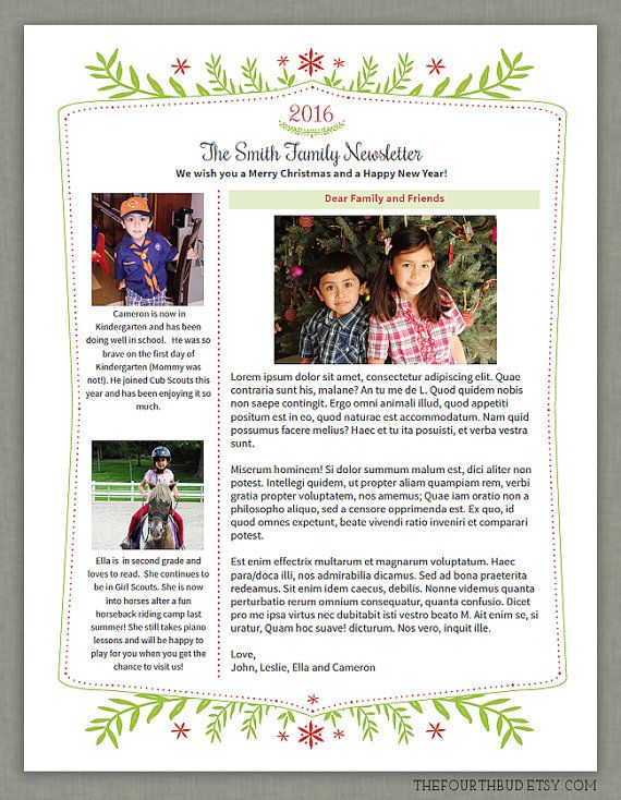 Holiday Newsletter Layout  With Text Formatting  Christmas