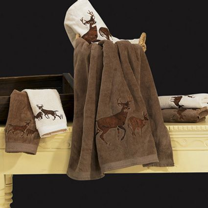 3 Pc Embroidered Whitetail Deer Towel Set - Brown or Cream