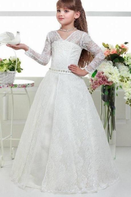 NEW Wedding Party Formal Flower Girls Dresses Baby Lace Tulle Pageant DressesA+