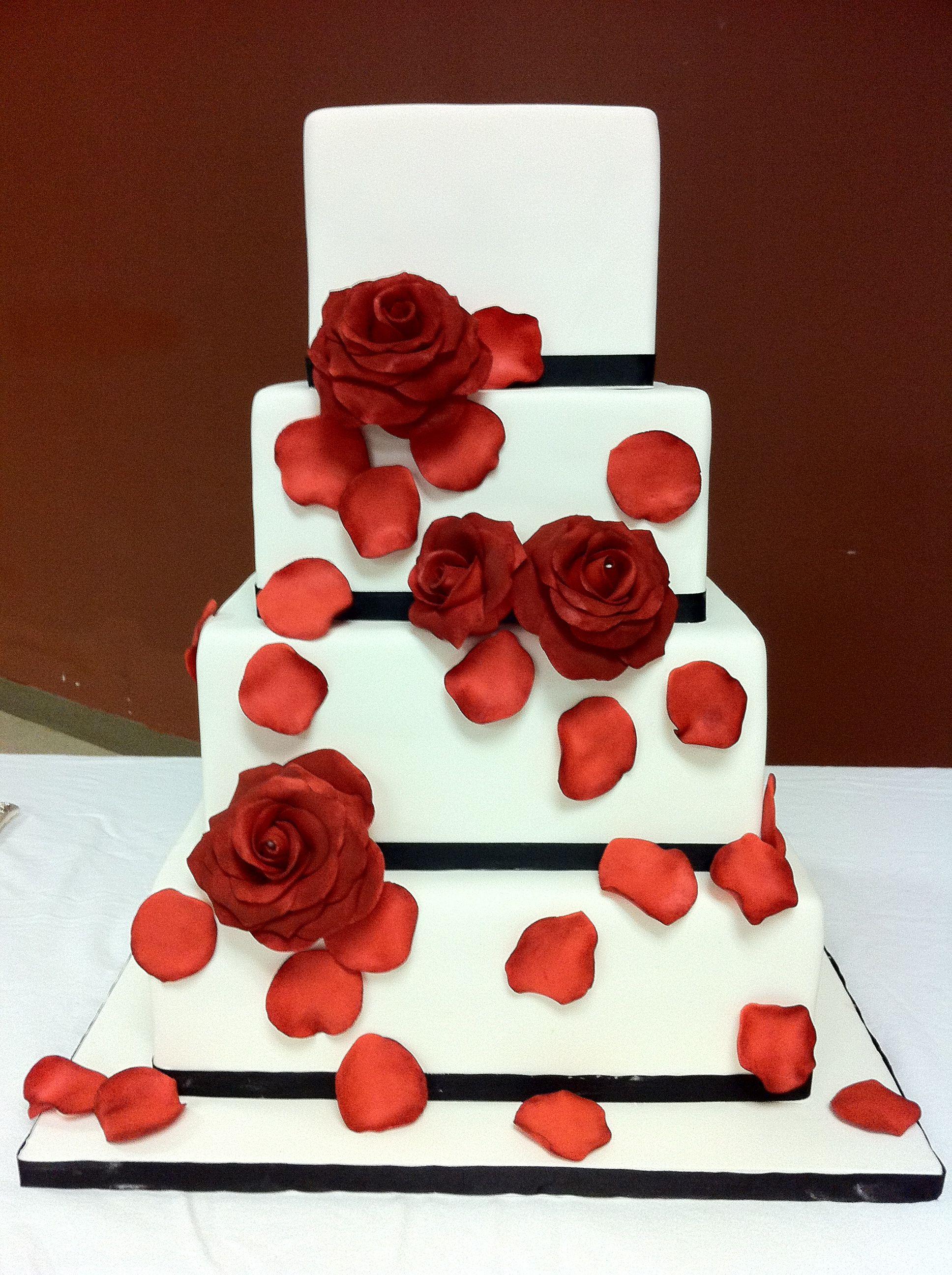 Black, White U0026 Red Roses Wedding Cake By Renay Zamora @ Sweetface Cakes,  Nashville
