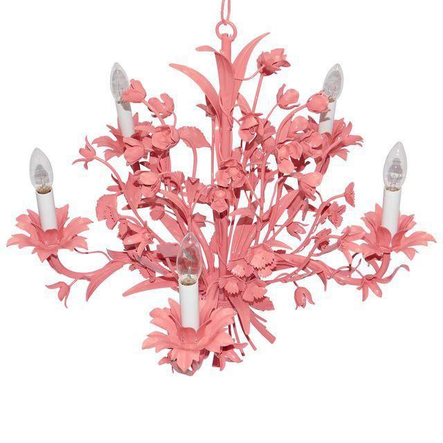 Image of Vintage Coral Floral Metal Chandelier