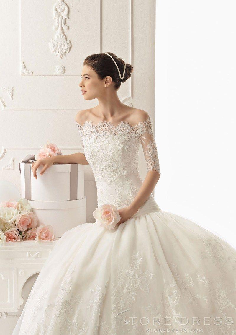 Enticing Off-shoulder Half Sleeve Lace Wedding Wrap - Storedress.com