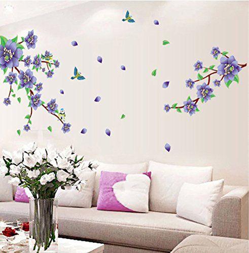 Ufengke Beautiful Purple Flowers Flying Birds Wall Decals Living