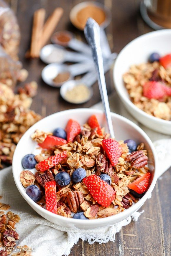 This Chai Spice Granola is bursting with chai spice flavor. It's gluten-free, vegan, and makes the perfect breakfast or snack.