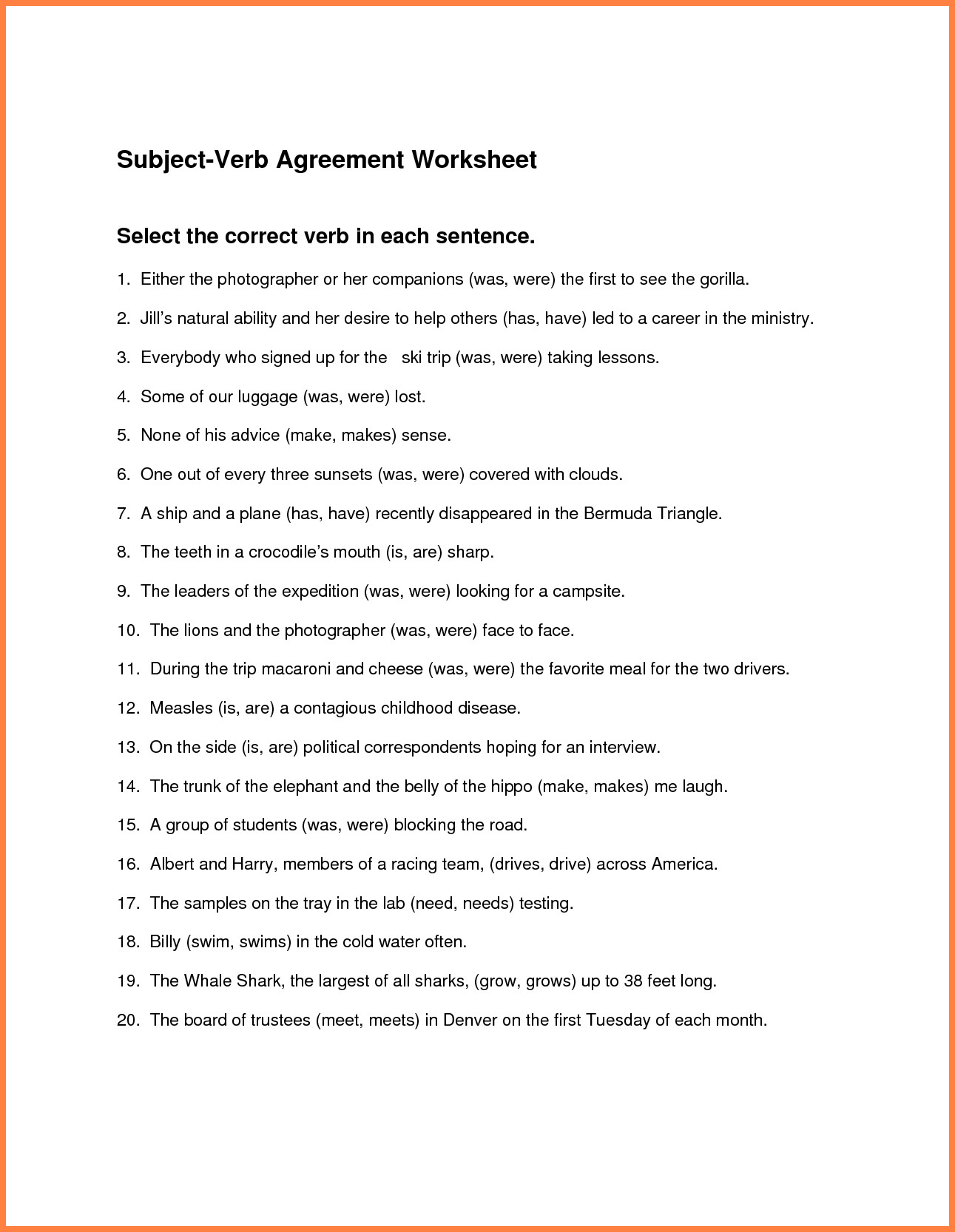 4 Subject Verb Agreement Worksheets 3rd Grade