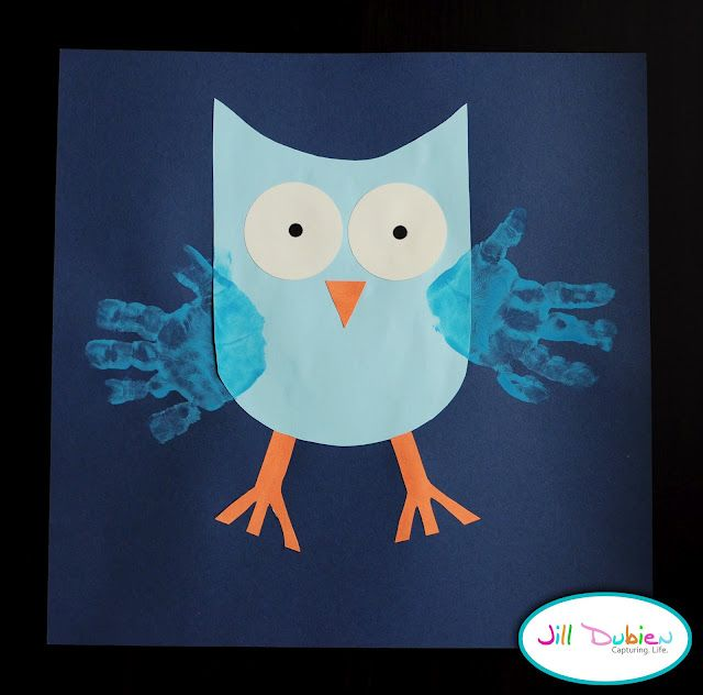 This simple owl craft with handprint wings is a real hoot for Group craft ideas for adults