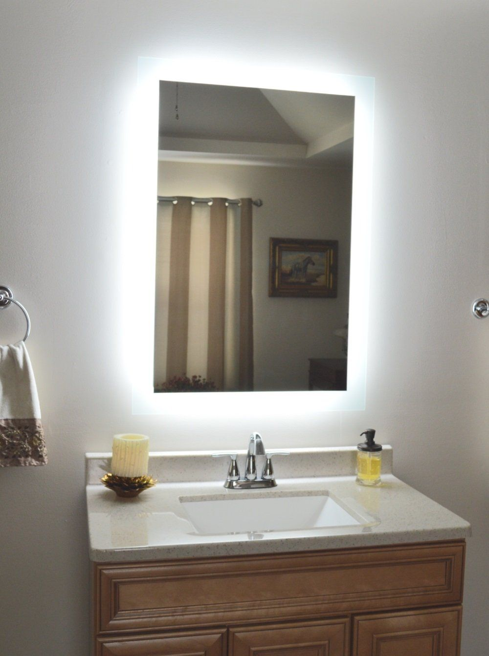 Side Lighted Led Bathroom Vanity Mirror 20 Wide X 28 Tall Rectangular Wall Mounted Lighted Vanity Mirror Backlit Bathroom Mirror Mirror