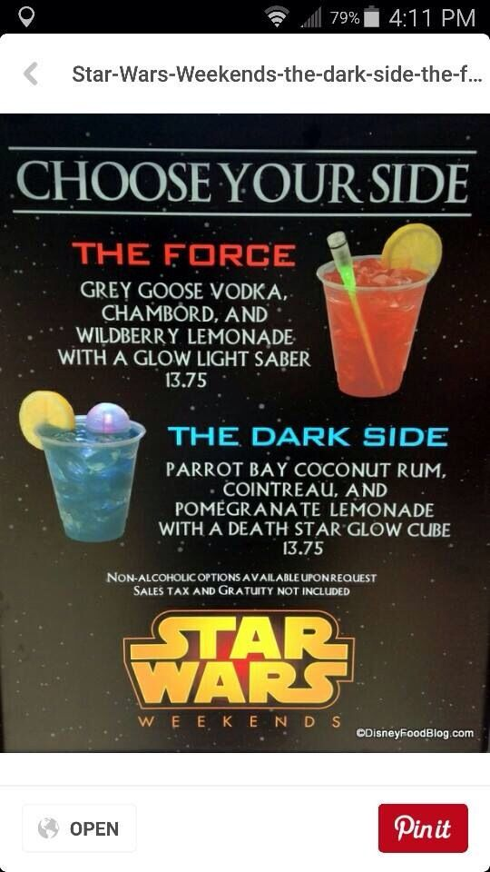 Star Wars cocktails from Star Wars weekends 2015