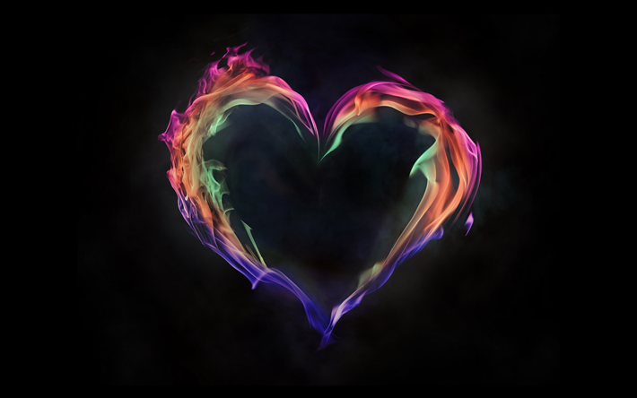 Download Wallpapers Heart 4k Fire Flames Art Fire Heart Love Concept Creative Besthqwallpapers Com Fire Heart Heart Wallpaper Love Wallpaper